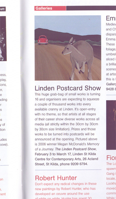 2007 Linden Postcard Show theage (melbourne) magazine, in The Age on Thursday, January 25. p69