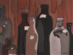 What's Important Series No.1-10 Bottles 2004 Gouache and Ink on Paper 25cmX25cm (Framed) Maroondah Art Gallery