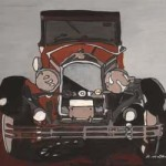 What's Important Series No.1-10 Nick's Car 2004 Gouache and Ink on Paper 25cmX25cm (Framed) (SOLD)
