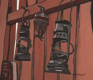 What's Important Series No.1-10 Lanterns 2004 Gouache and Ink on Paper 25cmX25cm (Framed) Maroondah Art Gallery